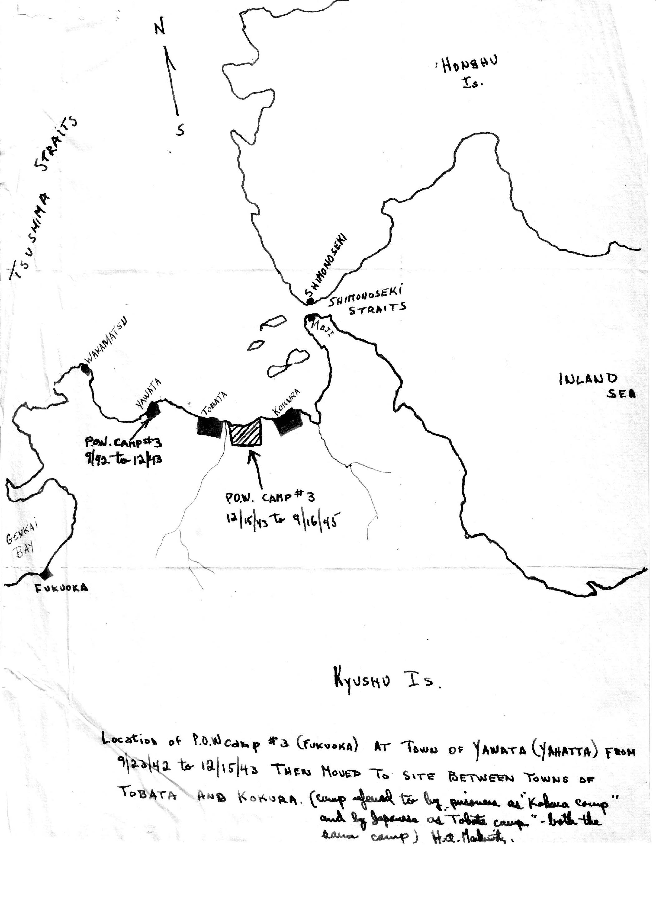 Fukuoka POW Camp Japan - Japan map sketch