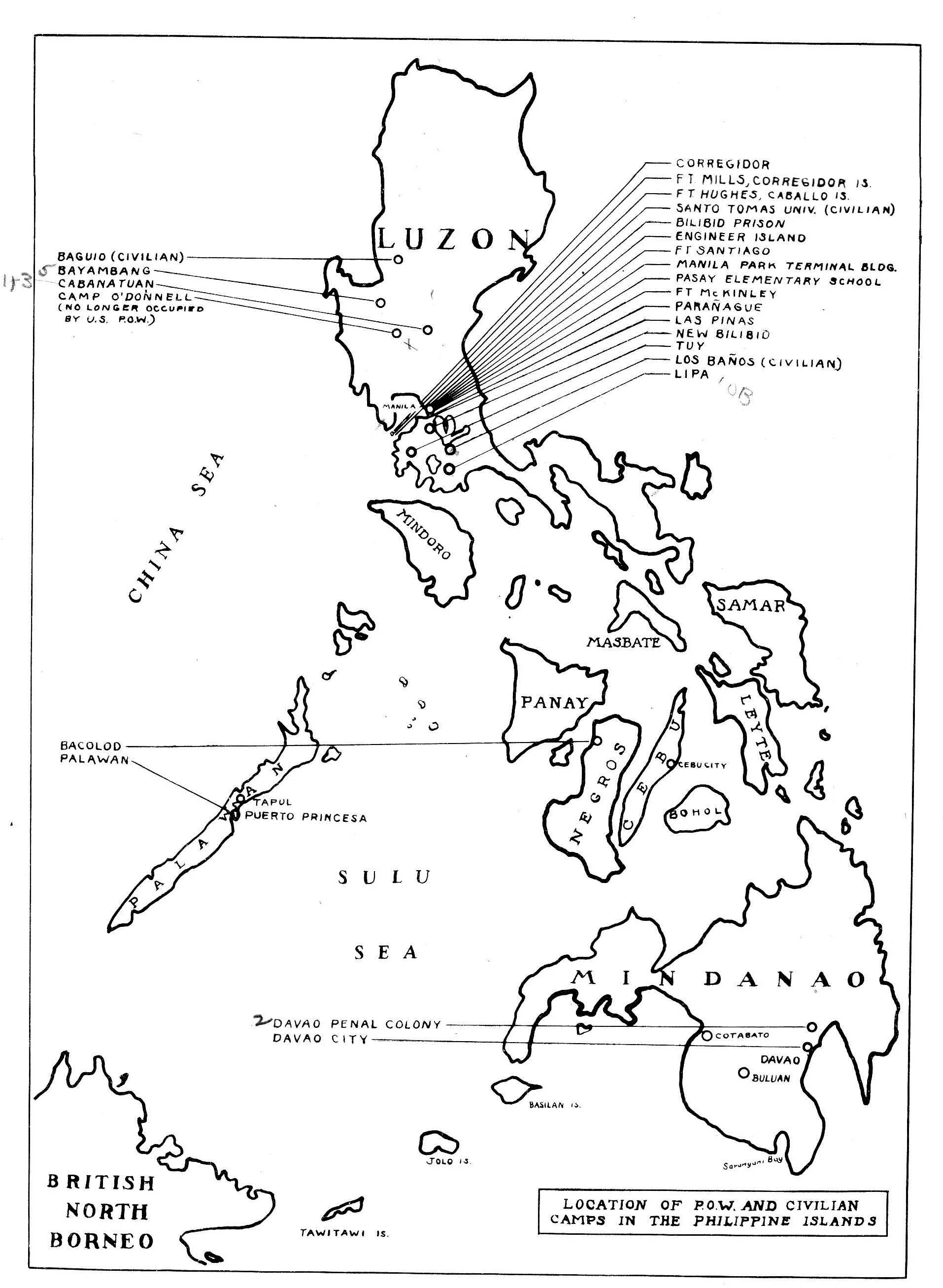 map of pow camps in the philippines