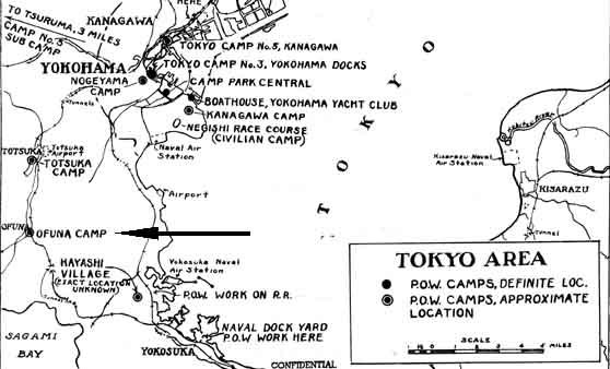 Ofuna POW Interrogation Center - Japan map ueki